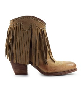 ZOE BEIGE SUÈDE TEXAN ANKLE BOOT WITH FRINGES