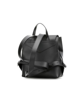 EMPORIO ARMANI BLACK LEATHER GOLDEN LOGO BACKPACK