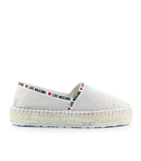 LOVE MOSCHINO WHITE SILVER SEQUINS ESPADRILLES