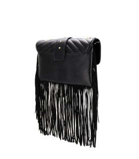 BORSA A TRACOLLA LOVE MINI SOFT FRINGES NERO PINKO