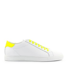 EMPORIO ARMANI WHITE NEON YELLOW NAPPA LEATHER SNEAKER