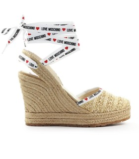 LOVE MOSCHINO BEIGE RAFFIA WEDGE SANDAL
