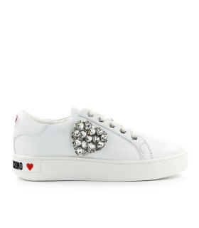 LOVE MOSCHINO SWAROVSKI HEART WHITE SNEAKER