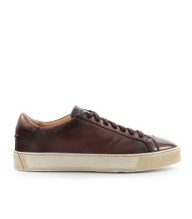 SANTONI BROWN LEATHER SNEAKER