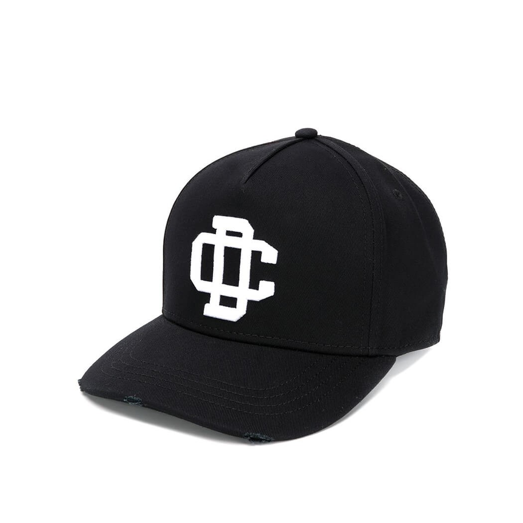 Dsquared2 CARGO BLACK BASEBALL CAP WITH WHITE LOGO