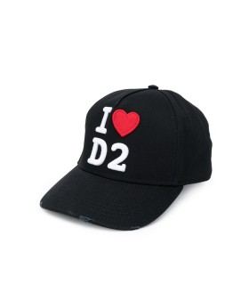 DSQUARED2 HEART LOGO BLACK BASEBALL CAP