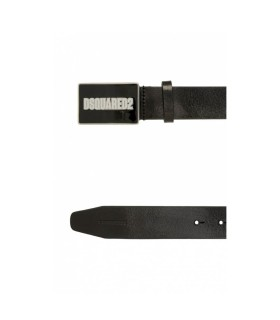 DSQUARED2 WHITE LOGO BLACK LEATHER BELT