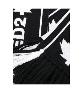 DSQUARED2 BLACK JACQUARD SCARF WITH WHITE LOGO