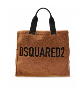 DSQUARED2 HELLBRAUN SHEARLING SHOPPERTASCHE