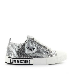 SNEAKER PAILLETTES ARGENTO LOVE MOSCHINO