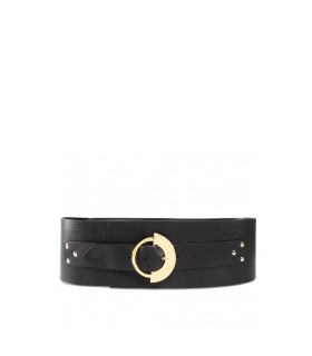 PINKO CAPINERA BUSTINO BLACK LEATHER BELT