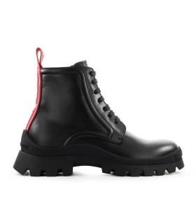 DSQUARED2 TANK TAPE BLACK LEATHER COMBAT BOOT