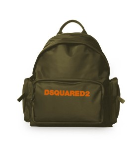 DSQUARED2 MILITARY GREEN ORANGE NYLON BACKPACK