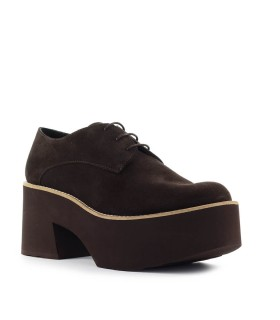 PALOMA BARCELÓ MONSARAZ BROWN SUEDE PLATFORM LACE-UP SHOE