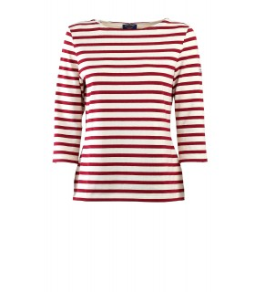 SAINT JAMES HUITRIERE III ECRU RED T-SHIRT WITH 3/4 LENGTH SLEEVES