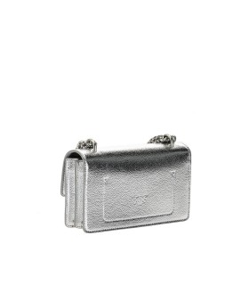 PINKO FREE FLIGHT MINI BUBBLES C SILVER CROSSBODY BAG