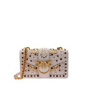 PINKO LOVE MINI ICON NEW STUDS CL LIGHT GREY CROSSBODY BAG