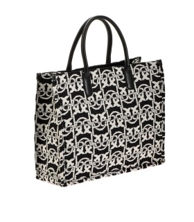 BORSA LOVE SHOPPING MONOGRAM NERO BIANCO PINKO