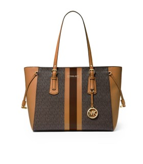 BORSA SHOPPING VOYAGER MONOGRAM MARRONE CUOIO MICHAEL KORS