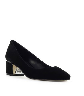 MICHAEL KORS LANA BLACK SUÈDE HALF-HEELED PUMP