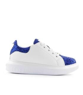 LOVE MOSCHINO BLUE GLITTER WHITE SNEAKER