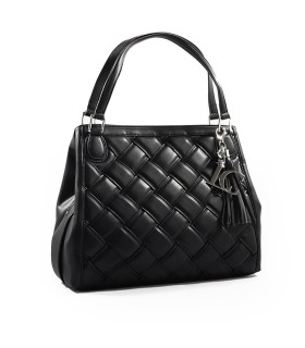 LA CARRIE WOVEN BLACK SHOPPING BAG