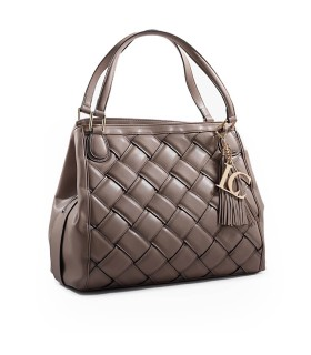 BOLSO SHOPPING WOVEN TAUPE LA CARRIE