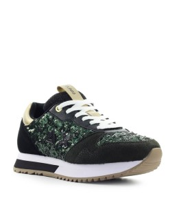 SUN68 KELLY SOLID PAILLETTES MILITARY GREEN SNEAKER