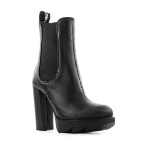 LOVE MOSCHINO BLACK LEATHER HEELED ANKLE BOOT