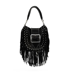 DSQUARED2 BLACK NAPPA LEATHER SHOPPING BAG WITH FRINGES