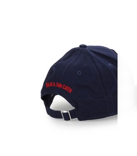 DSQUARED2 NAVY BLUE BASEBALL CAP WITH WHITE PATCH