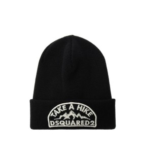 DSQUARED2 BLACK BEANIE WITH WHITE PATCH