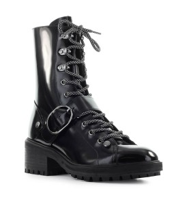 EMPORIO ARMANI BLACK BRUSHED LEATHER COMBAT BOOT