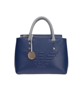 EMPORIO ARMANI BLUE GREY HANDBAG WITH MAXI LOGO