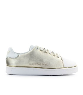EMPORIO ARMANI GOLD NAPPA LEATHER SNEAKER