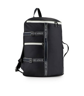 EMPORIO ARMANI NAVY BLUE BACKPACK WITH WHITE LOGO