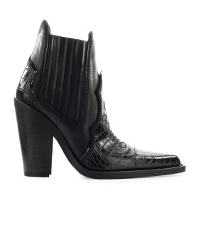 DSQUARED2 WESTERN BLACK CROCODILE PRINT ANKLE BOOT