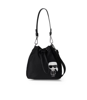 KARL LAGERFELD K/IKONIK BLACK NYLON BUCKET BAG