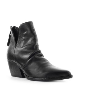 ELENA IACHI BLACK LEATHER TEXAN ANKLE BOOT
