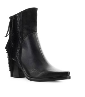 ZOE BLACK TEXAN BOOT WITH FRINGES