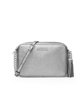 MICHAEL KORS GINNY MEDIUM SILVER CROSSBODY BAG