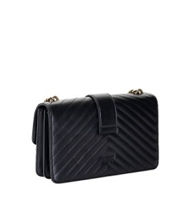 PINKO LOVE CLASSIC ICON V QUILT BLACK CROSSBODY BAG