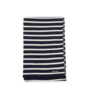 SAINT JAMES GRDE R NAVY BLUE ECRÙ SCARF