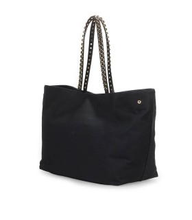 LOVE MOSCHINO BLACK CANVAS SHOPPING BAG