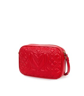 LOVE MOSCHINO QUILTED RED NAPPA MEDIUM CROSSBODY BAG
