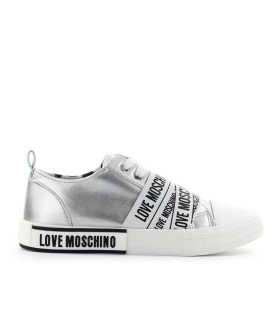 LOVE MOSCHINO SILVER SNEAKER WITH LOGO BAND