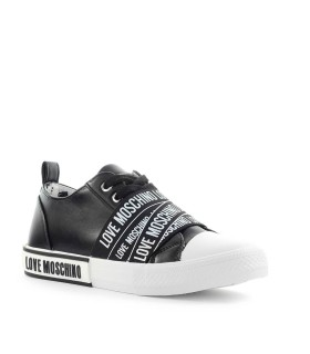 LOVE MOSCHINO BLACK SNEAKER WITH WHITE LOGO BAND