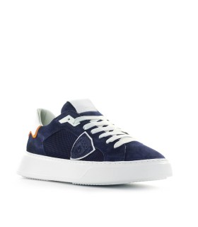 PHILIPPE MODEL TEMPLE BLAUW WIT SUEDE SNEAKER