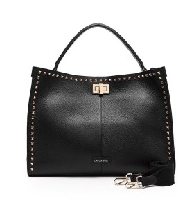 LA CARRIE STUDS SILVIE BLACK HANDBAG WITH GOLD STUDS