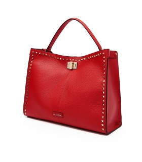 LA CARRIE STUDS SILVIE RED HANDBAG WITH GOLD STUDS